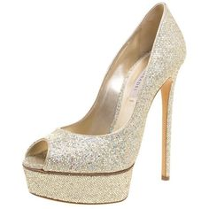 Casadei Glitter Lamé Fabric Peep Toe Platform Pumps Size 38.5 ❤ liked on Polyvore featuring shoes, pumps, casadei shoes, glitter pumps, casadei pumps, platform shoes and glitter shoes