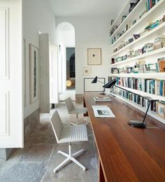 This is a cool idea. Utilizing a hallway, and incorporating a home office/ library.