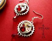 Movimento orologio Vintage Rosso Swarovski Steampunk Orecchini - Gioielli Steampunk by Steamretro : Orecchini di steamretro-italia