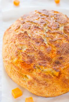 Easy Cheddar Sourdough - No starter required and so easy! It tastes like it's from a fancy bakery! Who can resist homemade cheesy bread!! Great side for your next party!