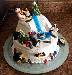 Drunk penguin birthday cake