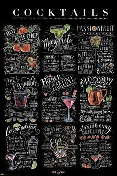 Chalkboard style printable poster for cosmo, martini, Moscow Mule etc Fancy Drinks, Bar Drinks, Yummy Drinks, Alcoholic Drinks, Cocktail Book, Cocktail Menu, Martini Recipes, Drink Recipes, Lily And Val
