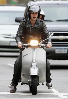 Mark Ronson And Samantha Ronson Riding On A Vespa In New York