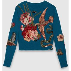 Gucci Embroidered Wool Knit Top ($6,150) ❤ liked on Polyvore featuring tops, sweaters, gucci, jumpers, knit crop top, crop top, wool sweater, long sleeve crop top and metallic crop top