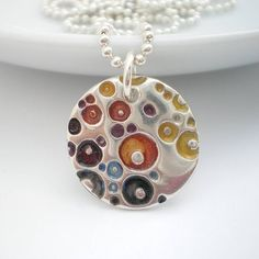 Silver Coral Texture Enamel Pendant Love the Circles & dimension