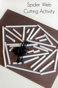 Spider web cutting activity for preschoolers. A scissor skills activity with straws and contact paper web cutting activity for preschoolers. A scissor skills activity with straws and contact paper.