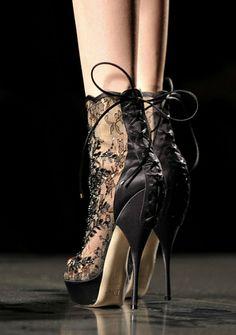 black, bootie lacy tie up wow-! ZsaZsa Bellagio