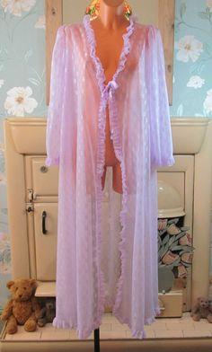 Vtg lilac frilly sissy sheer soft nightgown nightie gown night dress M/L R13262
