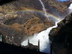 An awesome summer Waterfall Rainbow in Flam valley, Norway. Somewhere Over, Over The Rainbow, Norway, Natural Beauty, Waterfall, Awesome, Nature, Summer, Outdoor