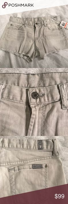 "7 For All Mankind Light Gray Denim Cutoff Shorts 7 For All Mankind denim shorts in a pretty light gray wash. Cutoff style with 8.5"" rise and 2.5"" inseam. Brand new with tags. 7 For All Mankind Shorts Jean Shorts"