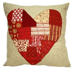 pieced heart pillow