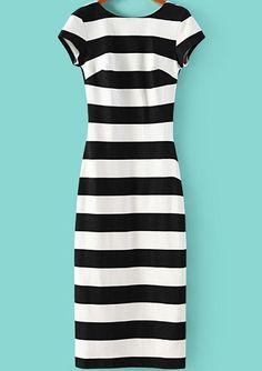 Vestido rayas sin esplada-blanco y negro 12.90