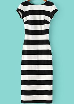 Black + White Striped Dress