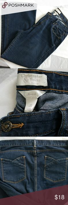 Christopher & Bank Stretch Jeans sz 14 Petite Medium to Dark Blue jeans from Christopher bank. Has tulip shaped POCKETS on back and similiar cut on front pockets. Worn and washed appx. 1 time. Christopher & Banks Jeans Boot Cut