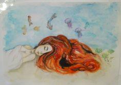 #watercolor, #mermaid, #red head, #red hair, #hair, #art, #sleep, #sea, #uder sea, #art
