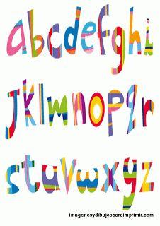 Letras multicolores. Abecedario para imprimir.