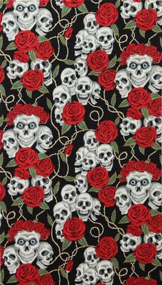 HALF YARD  Alexander Henry fabric The Rose Tattoo (skulls & roses)  is collection of conversationals designed by Nicole prints. $6.95, via Etsy.
