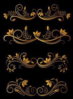 Golden luxury ornaments vectors graphic 02