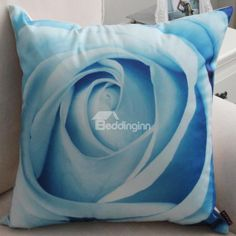 @bedding inn  $ 22.99 New Arrival Beautiful Light Blue Lifelike Rose Flower Print Throw Pillow www.beddinginn.com