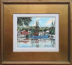 8 x 10 Oil On Canvas. Original Painting of Shrimp Boats at Shem Creek, Mount Pleasant, South Carolina. Image Size 8 x 10 Framed to overall size of 16 x 18 Frame is included