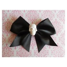 Pastel Goth black Hair bow white skull punk lolita ❤ liked on Polyvore featuring accessories, hair accessories, ribbon hair clips, hair clip accessories, hair bows, ribbon hair bows and skull hair clips