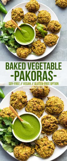 These Baked Vegetable Pakoras are an amazing way to get tons of veggies into super-delicious, baked bites! Recipe from Vegan Richa's Everyday Kitchen! Vegan Foods, Vegan Snacks, Vegan Dishes, Food Dishes, Vegan Vegetarian, Vegetarian Recipes, Healthy Recipes, Healthy Herbs, Paleo