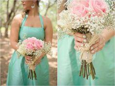 Aqua & Pink Wedding | , pink rose and baby's breath bouquets, aqua mint and pink wedding ...