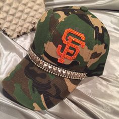 Fun Camo Colored Ball Cap With Blinged Out Giants Logo With Rhinestones And Studded Band