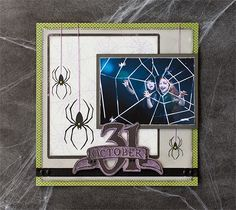 October 31 spider Halloween scrapbook layout page. Make It Now in Cricut Design Space