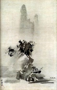 Splashed Ink (detail) SESSHU Landscape - Handing scroll - Ink on paper