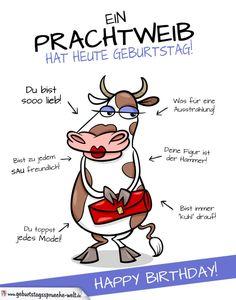 Coole Karte zum Geburtstag mit Kuh