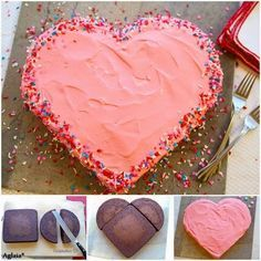 20 easy birthday cakes that anyone can decorate Beautiful Heart Cake……don't have a cake mold and haven't mastered your cutting skills? Well, this just may do the trick :] Heart Shaped Cakes, Heart Cakes, Baked Camembert, Valentines Day Cakes, Funny Valentine, Valentine Crafts, Square Cakes, Round Cakes, Cake Mold