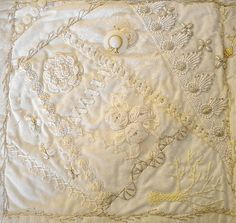 I ❤ crazy quilting & ribbon embroidery . . . White on white finished block 4 CQ ~By Susan Shufelt