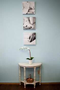 Baby bits. Three 12x12 canvases with our favorite close in baby shots. #canvas #wall grouping #wall inspiration