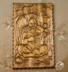 "Різьблена картина ""Козак Мамай"" / Carved painting ""Cossack Mamay"""