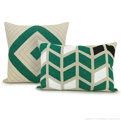 Chevron pillow cover, geometric print - Hand printed arrows pattern in emerald green, black and white on beige canvas - 12x18 lumbar pillow. $50.00, via Etsy.