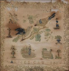 Group of (4) samplers (19th century)