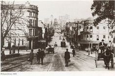 William St,Sydney in from College St along William St. Williams Street, Sydney City, Historical Images, Pictures Of People, Sydney Australia, Continents, East Coast, Old Photos, Melbourne