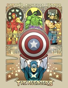 AVENGERS; I love how Captain America has the biggest picture of them all! Go fight those bad guys baby!!