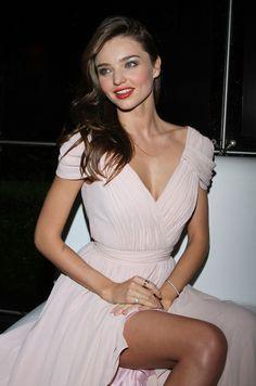 Miranda Kerr: nude/pale pink chiffon flowy maxi dress
