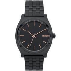 Nixon Black Time Teller Stainless Steel Watch ($110) ❤ liked on Polyvore featuring jewelry, watches, accessories, dial watches, lock jewelry, stainless steel jewellery, water resistant watches and stainless steel jewelry