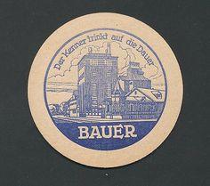 """Bierdeckel """"Der Kenner trinkt auf Dauer"""" Bauer Brauerei als Abbildung"""