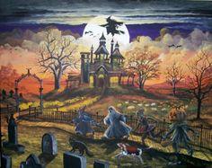 "Folk Art HALLOWEEN Witch PRINT ""Spooky Lane"" Children Haunted House Pumpkins Byrum"