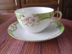 Nippon Hand Painted Golden Blooming Roses Tea Cup and Saucer