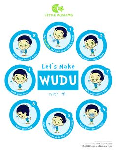 Let's Make WUDU poster from the Little Muslims series. Pick your favorite Little Muslims character! Tape it on your home or masjid restroom mirror so your little Muslims can love to make wudu with … Learning Arabic, Kids Learning, Ablution Islam, Activities For Kids, Crafts For Kids, Kindergarten Activities, Easy Crafts, Islamic Cartoon, Ramadan Crafts