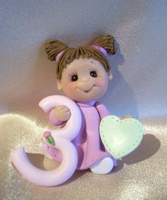 polymer clay toddler third 3rd birthday cake topper by clayqts, $23.95