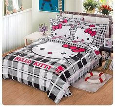 *** Hello Kitty Stay Real Single Bed Quilt Cover Set - Flat or Fitted Sheet *** Hello Kitty Bedroom, Hello Kitty House, Hello Kitty Baby, Hello Kitty Themes, Baby Bedroom, Dream Bedroom, Girls Bedroom, Bedroom Decor, Bedroom Furniture