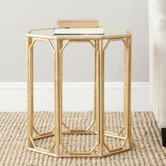 Safavieh Treasures Muriel Gold/ Mirror Top Accent Table - Walmart.com