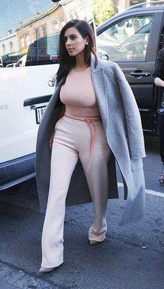 Kim Kardashian West's Jonathan Simkhai Peach Ribbed Crop Tank Top