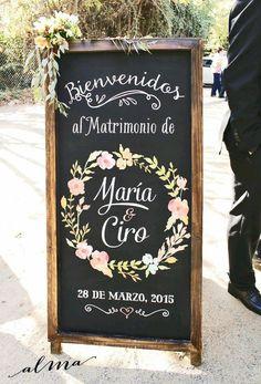 Letrero entrada boda